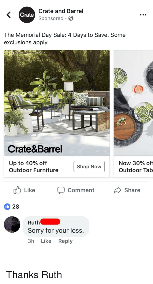 Sorry Furniture And Memorial Day Crate Barrel Sponsored The