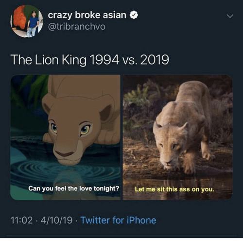 Crazy Broke Asian The Lion King 1994 Vs 2019 Can You Feel