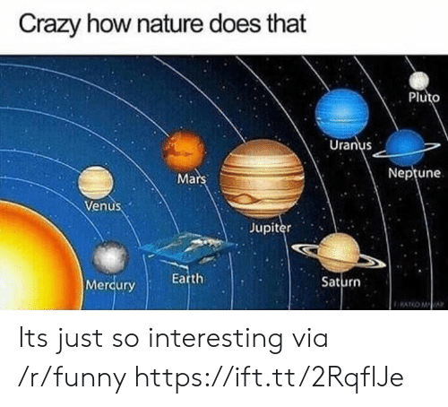 Crazy, Funny, and Earth: Crazy how nature does that  Pluto  Uranus  Ma  Neptune  Venus  Jupiter  Earth  Saturn  Merqury Its just so interesting via /r/funny https://ift.tt/2RqflJe