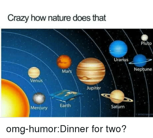 Crazy, Omg, and Tumblr: Crazy how nature does that  Pluto  Uranus  Mars  Neptune  Venus  Jupiter  Mercury  Earth  Saturn omg-humor:Dinner for two?