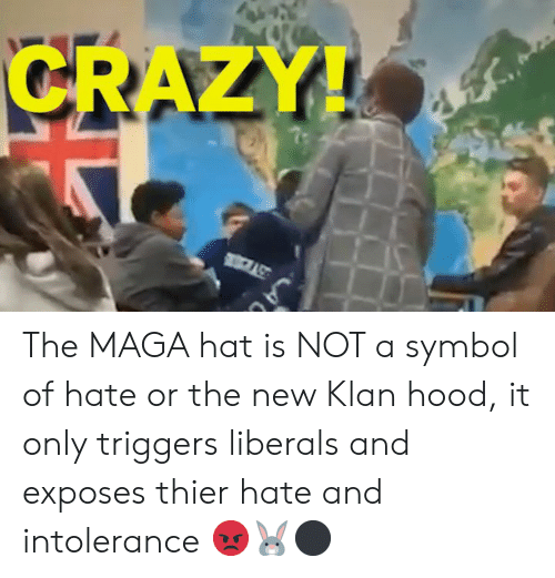 Crazy, Memes, and Hood: CRAZY! The MAGA hat is NOT a symbol of hate or the new Klan hood, it only triggers liberals and exposes thier hate and intolerance 😡🐰⚫