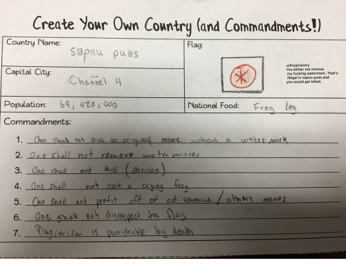 create your own country and commandments country name flag sapnu