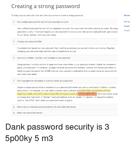 Creating A Strong Password To Keep Your Account Safe Here Are A Few