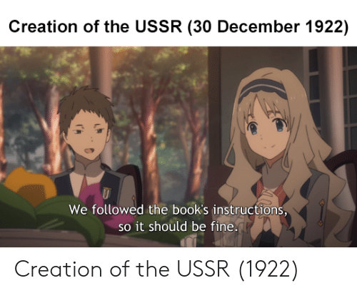 Books, Ussr, and Creation: Creation of the USSR (30 December 1922)  We followed the book's instructions  so it should be fine Creation of the USSR (1922)