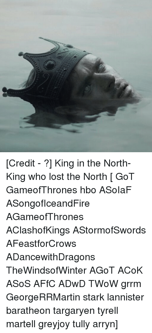 Hbo, Memes, and Lost: [Credit - ?] King in the North-King who lost the North [ GoT GameofThrones hbo ASoIaF ASongofIceandFire AGameofThrones AClashofKings AStormofSwords AFeastforCrows ADancewithDragons TheWindsofWinter AGoT ACoK ASoS AFfC ADwD TWoW grrm GeorgeRRMartin stark lannister baratheon targaryen tyrell martell greyjoy tully arryn]