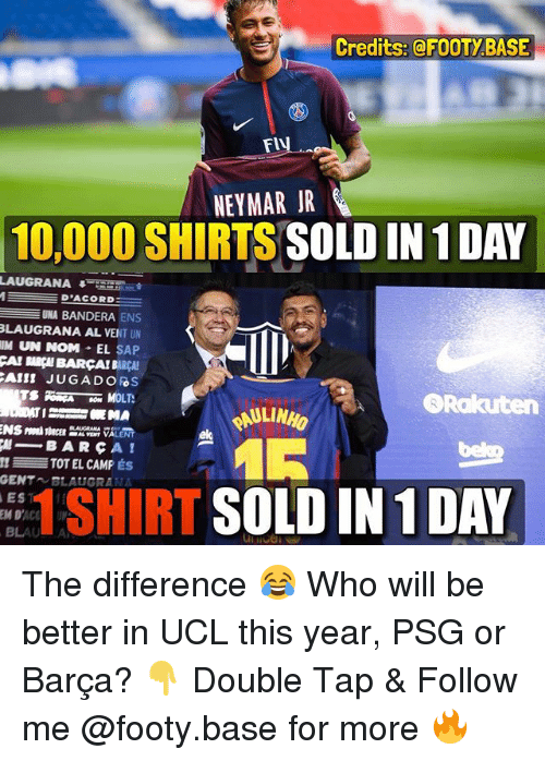 Memes, Neymar, and Barca: Credits:@FOOTYBASE  NEYMAR JR  10,000 SHIRTS SOLD IN 1 DAY  LAUGRANA45  D'ACORD  UNA BANDERA ENS  LAUGRANA AL VENT UN  111 UN NOM-EL SAP  CAI BARÇH BARCA! BARCA!  Rakuten  AULINHO  ek  μ-BARCA!  TOT EL CAMP ÉS  GENT BLAUGRANA  EST  1 SHIRT SOLD IN 1 DAY The difference 😂 Who will be better in UCL this year, PSG or Barça? 👇 Double Tap & Follow me @footy.base for more 🔥