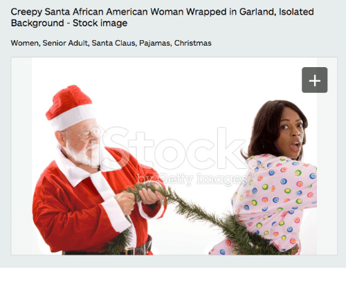 Creepy Santa African American Woman Wrapped In Garland Isolated