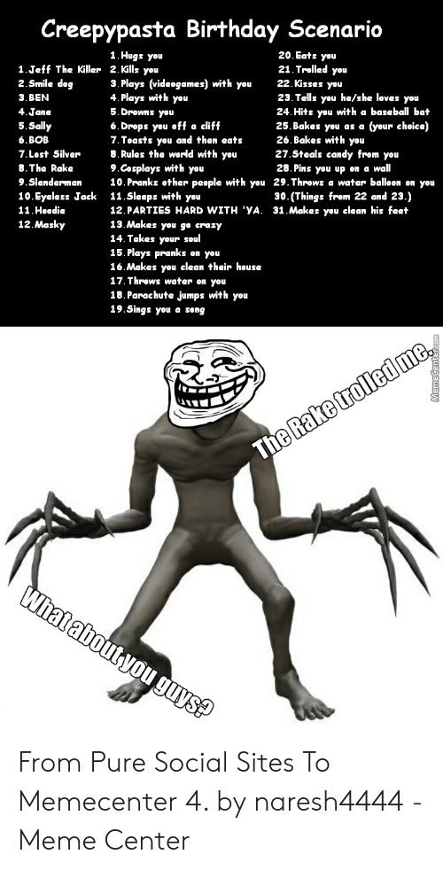 Creepypasta Birthday Scenario 1Hugs You 20 Eats You 21 Trolled You