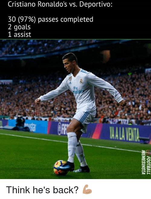 Goals, Memes, and Back: Cristiano Ronaldos vs. Deportivo:  30 (97%) passes completed  2 goals  1 assist  fly  ALA VENT Think he's back? 💪🏽