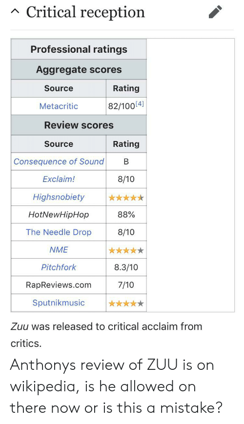 d173d12eeb48 Hotnewhiphop, Wikipedia, and Com: Critical reception Professional ratings  Aggregate scores Rating Source 82