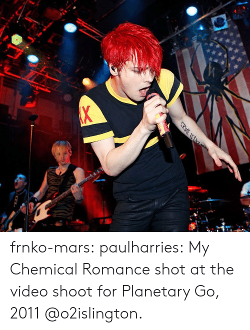 Instagram, Tumblr, and Blog: CRME IS DO  X frnko-mars: paulharries: My Chemical Romance shot at the video shoot for Planetary Go, 2011 @o2islington.
