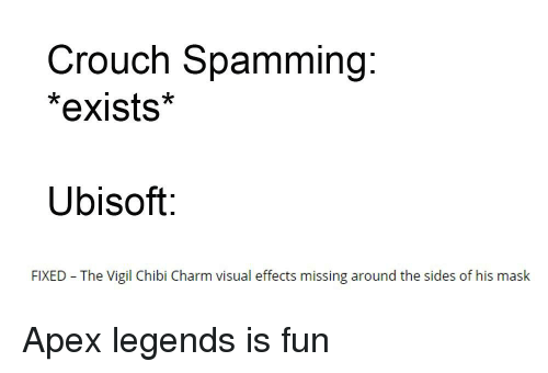 Crouch Spamming *Exists* Ubisoft FIXED the Vigil Chibi Charm
