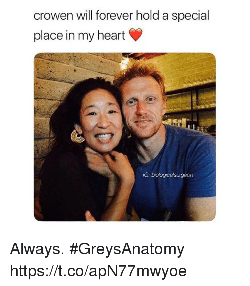 Memes, Forever, and Heart: crowen will forever hold a special  place in my heart  IG: biologicalsurgeon Always. #GreysAnatomy https://t.co/apN77mwyoe