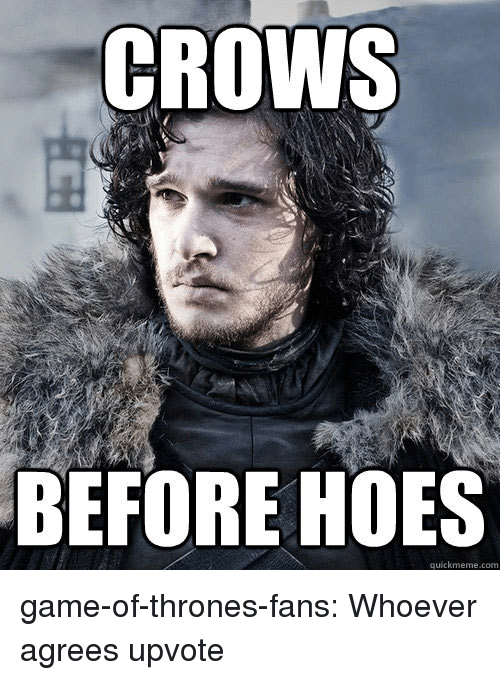 Game of Thrones, Hoes, and Tumblr: CROWS  BEFORE HOES  quickmeme.com game-of-thrones-fans:  Whoever agrees upvote