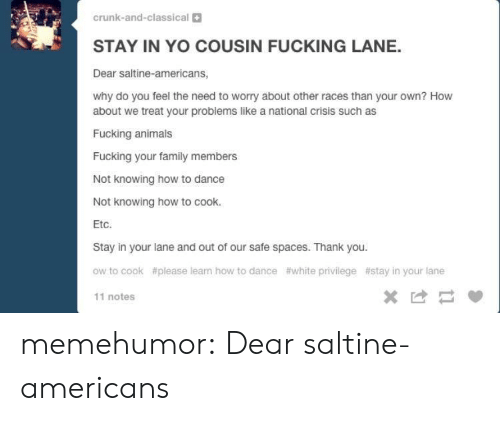 Animals, Family, and Tumblr: crunk-and-classical  STAY IN YO COUSIN FUCKING LANE.  Dear saltine-americans,  why do you feel the need to worry about other races than your own? How  about we treat your problems like a national crisis such as  Fucking animals  Fucking your family members  Not knowing how to dance  Not knowing how to cook.  Etc.  Stay in your lane and out of our safe spaces. Thank you.  ow to cook  #please leam how to dance  #white privilege  #stay in your lane  11 notes memehumor:  Dear saltine-americans