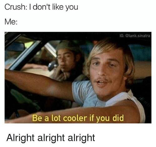 Crush, Memes, and Alright: Crush: I don't like you  Me  IG Stank sinatra  Be a lot cooler if you did Alright alright alright
