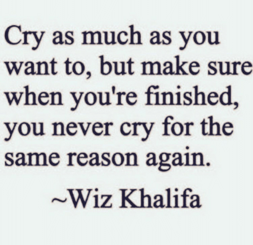 Wiz Khalifa, Never, and Reason: Cry as much as you  want to, but make sure  when you're finished,  you never cry for the  same reason again  ~Wiz Khalifa