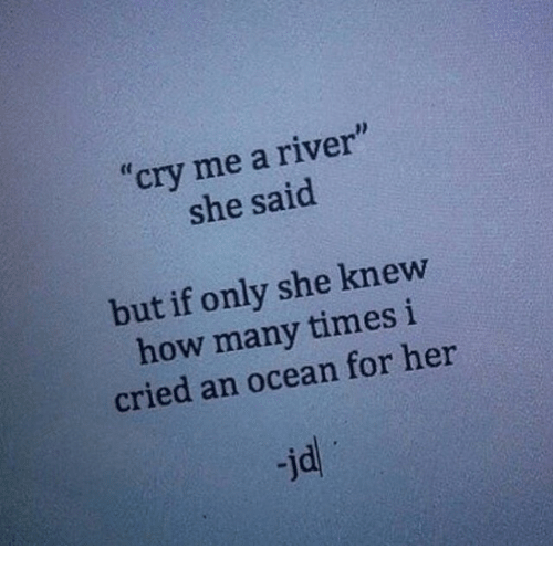"""How Many Times, Ocean, and How: """"cry me a river""""  she said  but if only she knew  how many times i  cried an ocean for her  -jd"""