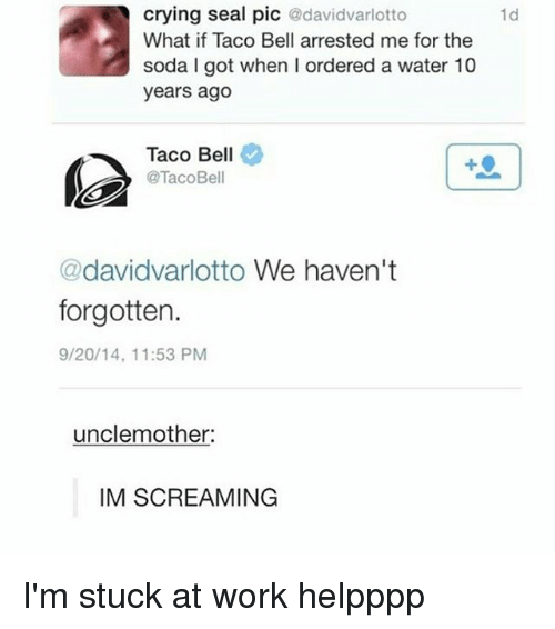 Crying, Memes, and Soda: crying seal pic @davidvarlotto  What if Taco Bell arrested me for the  soda I got when I ordered a water 10  years ago  1d  Taco Bell  @TacoBell  @davidvarlotto We haven't  forgotten.  9/20/14, 11:53 PM  unclemother  IM SCREAMING I'm stuck at work helpppp