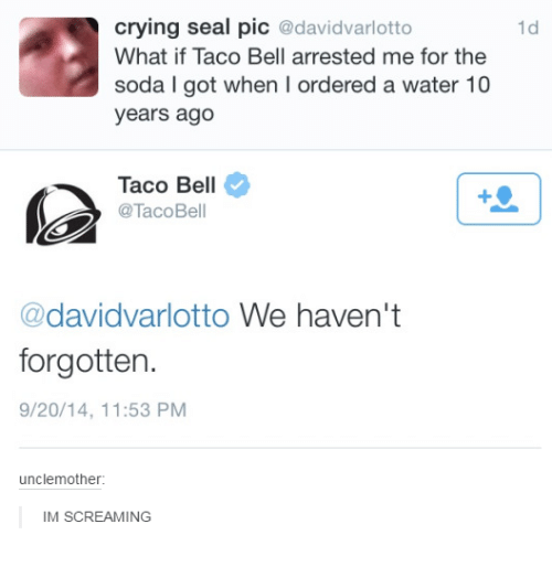 Crying, Scream, and Soda: crying seal pic  @davidvarlotto  What if Taco Bell arrested me for the  soda l got when l ordered a water 10  years ago  Taco Bell  @Taco Bell  @davidvarlotto We haven't  forgotten.  9/20/14, 11:53 PM  uncle mother:  IM SCREAMING  1d