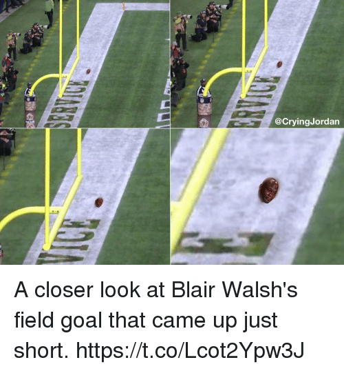 Goal, Closer, and Look: @CryingJordan A closer look at Blair Walsh's field goal that came up just short. https://t.co/Lcot2Ypw3J