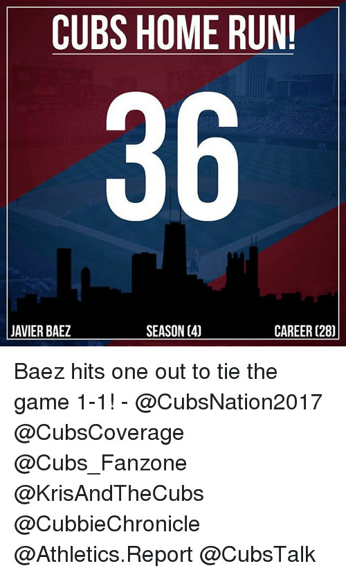 Memes, Run, and The Game: CUBS HOME RUN!  36  SEASON C40  JAVIER BAEZ  CAREER (28) Baez hits one out to tie the game 1-1! - @CubsNation2017 @CubsCoverage @Cubs_Fanzone @KrisAndTheCubs @CubbieChronicle @Athletics.Report @CubsTalk