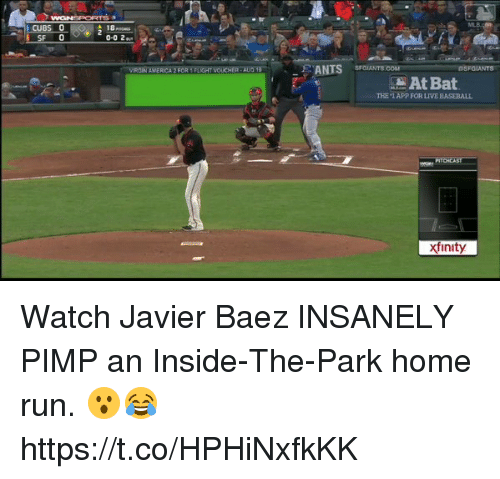 America, Baseball, and Memes: CUBS  ISF 0  AMERICA 2F  NTS sra  At Bat  THE '1 APP FOR LIVE BASEBALL  xfinity Watch Javier Baez INSANELY PIMP an Inside-The-Park home run. 😮😂 https://t.co/HPHiNxfkKK