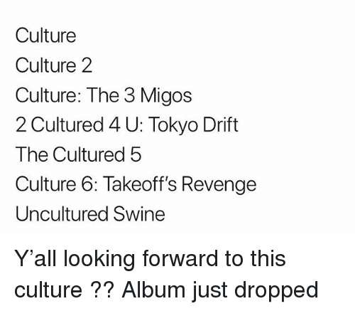 Memes, Migos, and Revenge: Culture  Culture 2  Culture: The 3 Migos  2 Cultured 4 U: Tokyo Drift  The Cultured 5  Culture 6: Takeoff's Revenge  Uncultured Swine Y'all looking forward to this culture ?? Album just dropped