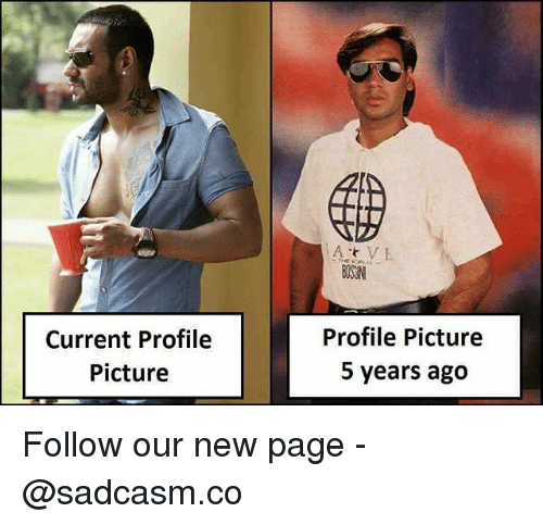 Memes, 🤖, and Page: Current Profile  Picture  Profile Picture  5 years ago Follow our new page - @sadcasm.co