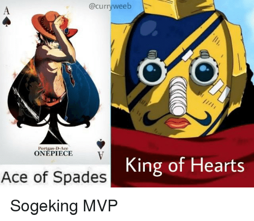 Anime, Hearts, and Onepiece: @curryweeb  Portgas-D-Ace  ONEPIECE  V  King of Hearts  Ace of Spades