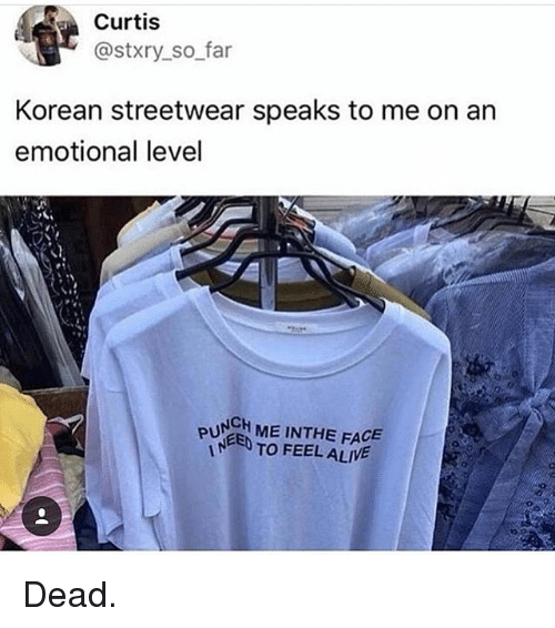 Alive, Girl Memes, and Korean: Curtis  @stxry so far  Korean streetwear speaks to me on an  emotional level  PUNGH ME INTHE FACE  TO FEEL ALIVE Dead.