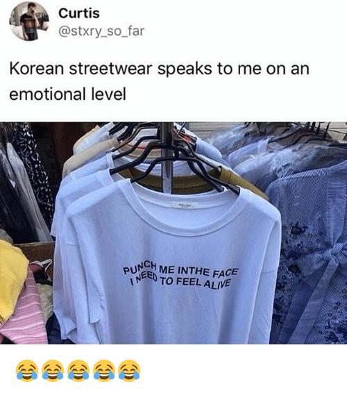Alive, Girl Memes, and Korean: Curtis  @stxry_so far  Korean streetwear speaks to me on an  emotional level  PUNGH ME INTHE FACE  TO FEEL ALIVE 😂😂😂😂😂
