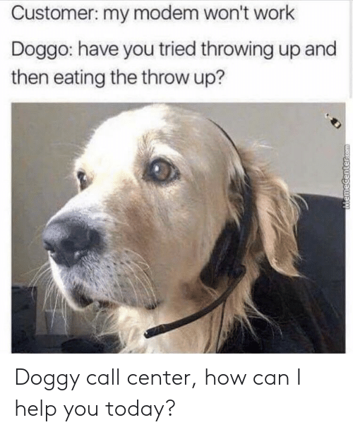 Work, Help, and Today: Customer: my modem won't work  Doggo: have you tried throwing up and  then eating the throw up? Doggy call center, how can I help you today?