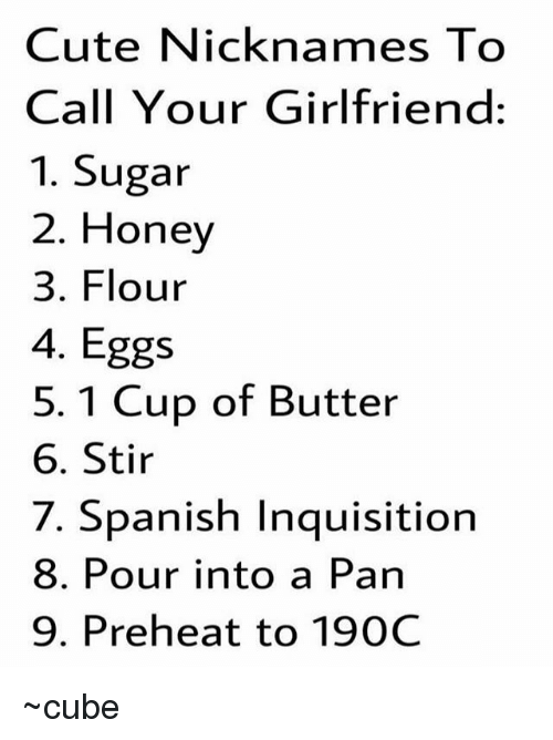 nick names to call your girlfriend