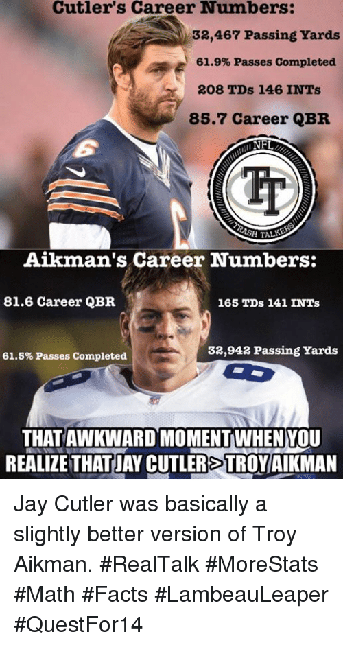 2b978f70 Facts, Jay, and Memes: Cutler's Career Numbers: 32,467 Passing Yards 61.9%