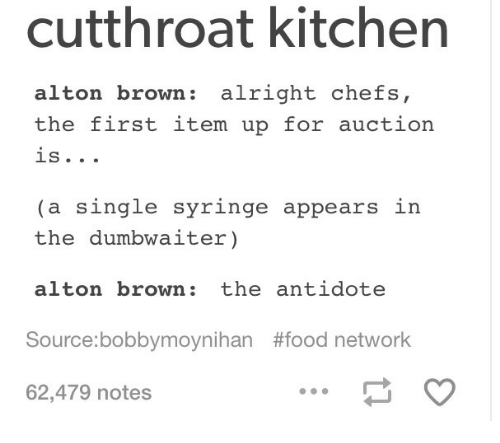 Cutthroat Kitchen Alton Brown Alright Chefs The First Item