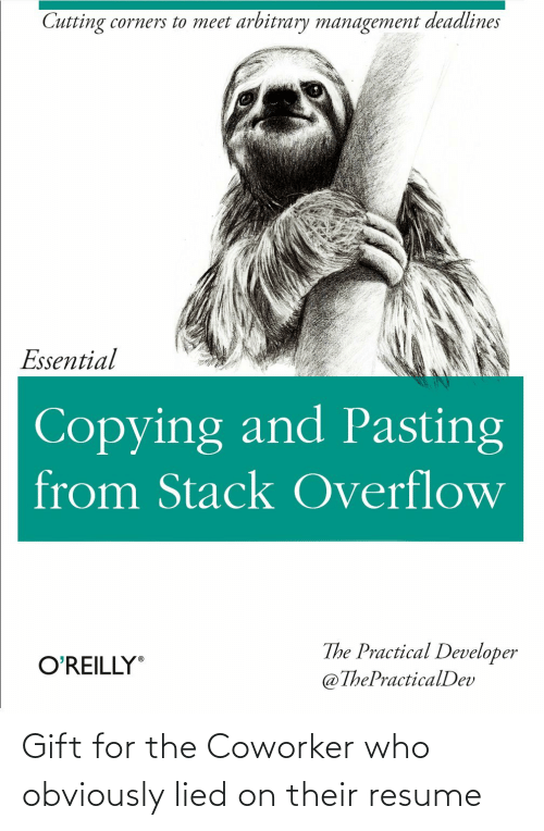 Resume, Who, and Stack: Cutting corners to meet arbitrary management deadlines  Essential  Copying and Pasting  from Stack Overflow  The Practical Developer  @ThePracticalDev  O'REILLY Gift for the Coworker who obviously lied on their resume