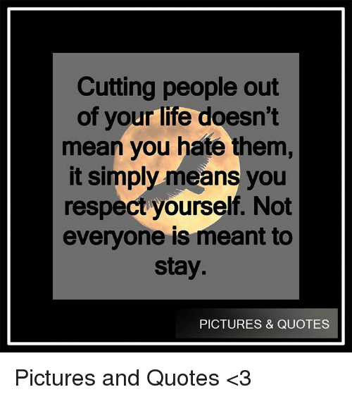 Cutting People Out Of Your Life Doesnt Mean You Hate Them It Simply
