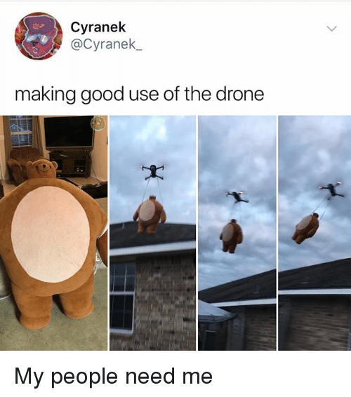 Drone, Memes, and Good: Cyranek  @Cyranek_  making good use of the drone My people need me
