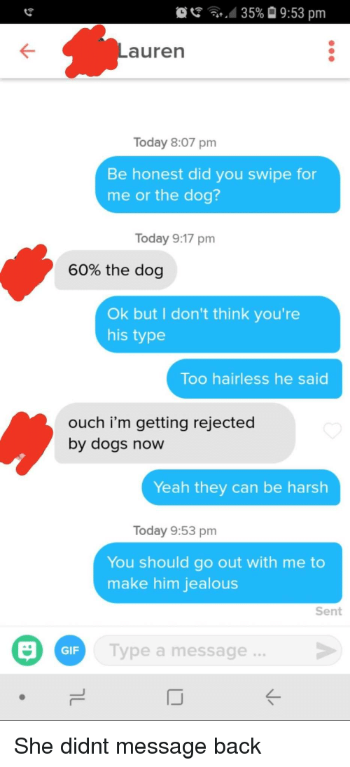 Dogs, Gif, and Jealous: ' ..d 35%  9:53 pm  Lauren  Today 8:07 pm  Be honest did you swipe for  me or the dog?  Today 9:17 pm  60% the dog  Ok but I don't think you're  his type  Too hairless he said  ouch i'm getting rejected  by dogs now  Yeah they can be harsh  Today 9:53 pm  You should go out with me to  make him jealous  Sent  Type a message...  GIF She didnt message back