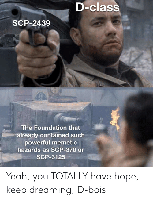 Yeah, Powerful, and Hope: D-class  SCP-2439  The Foundation that  already contained such  powerful memetic  hazards as SCP-370 or  SCP-3125 Yeah, you TOTALLY have hope, keep dreaming, D-bois