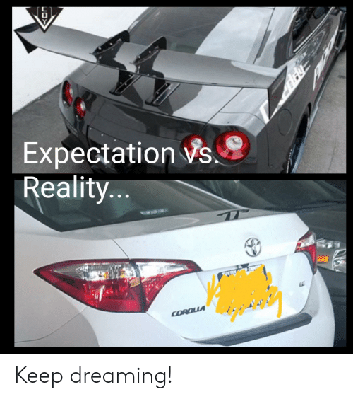 Reality, Expectation, and Dreaming: D  Expectation s  Reality...  STIN  COROUA Keep dreaming!