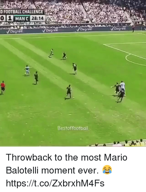 Football, Soccer, and Mario: D FOOTBALL CHALLENGE  MAN C  Degres  Degrea  Bestoffootbal Throwback to the most Mario Balotelli moment ever. 😂 https://t.co/ZxbrxhM4Fs