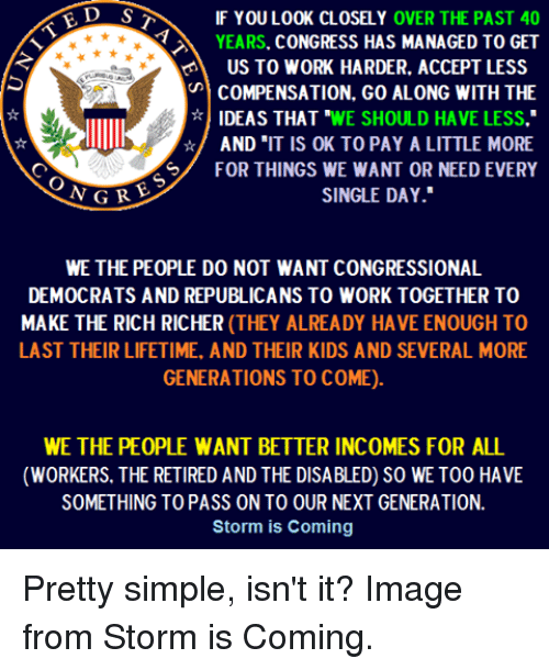 "Memes, Work, and Image: D S  IF YOULOOK CLOSELY OVER THE PAST 40  YEARS. CONGRESS HAS MANAGED TO GET  US TO WORK HARDER, ACCEPT LESS  COMPENSATION, GO ALONG WITH THE  IDEAS THAT ""WE SHOULD HAVE LESS.""  AND ""IT IS OK TO PAY A LITTLE MORE  FOR THINGS WE WANT OR NEED EVERY  SINGLE DAY  WE THE PEOPLE DO NOT WANT CONGRESSIONAL  DEMOCRATS AND REPUBLICANS TO WORK TOGETHER TO  MAKE THE RICH RICHER (THEY ALREADY HAVE ENOUGH TO  LAST THEIR LIFETIME, AND THEIR KIDS AND SEVERAL MORE  GENERATIONS TO COME).  WE THE PEOPLE WANT BETTER INCOMES FOR ALL  (WORKERS. THE RETIRED AND THE DISABLED) SO WE TOO HAVE  SOMETHING TO PASS ON TO OUR NEXT GENERATION  Storm is Coming Pretty simple, isn't it? Image from Storm is Coming."