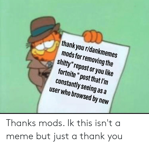 "Meme, Thank You, and Dank Memes: D  thank you r/dankmemes  mods for removing the  shitty""repost or you like  fortnite"" post that I'm  constantly seeing as a  user who browsed by new Thanks mods. Ik this isn't a meme but just a thank you"