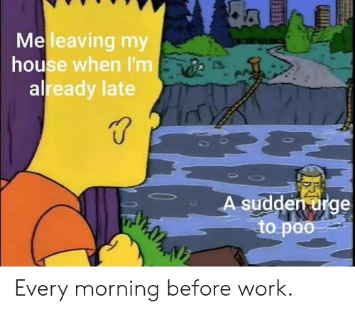My House, Work, and House: da  Meleaving my  house when I'm  already late  A sudden urge  to poo Every morning before work.