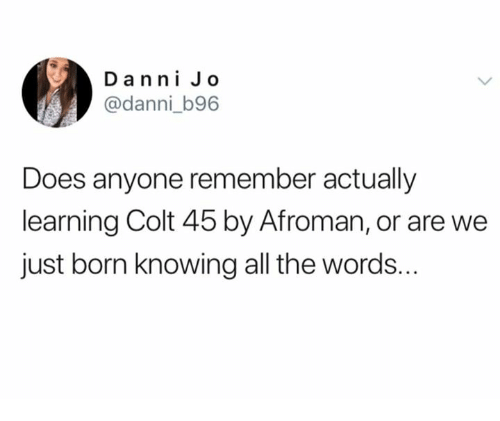 Memes, All The, and 🤖: Da nni Jo  @danni_b96  Does anyone remember actually  learning Colt 45 by Afroman, or are we  just born knowing all the words.