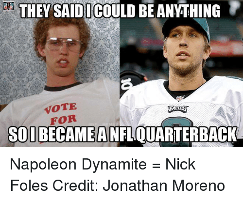 5834ae22e ... frequent meme subject Nick Foles, who passed for 373 yards and three  touchdowns in the Eagles' 41-33 Super Bowl win — yes, win — over the  Patriots.