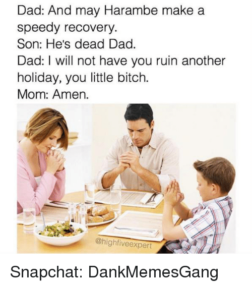 Memes, Snapchat, and 🤖: Dad: And may  Hara  make a  speedy recovery  Son: He's dead Dad.  Dad: Will not have you ruin another  holiday, you little bitch.  Mom: Amen.  @high fiveexpert Snapchat: DankMemesGang