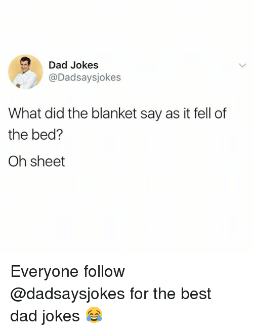 Dad, Memes, and Best: Dad Jokes  @Dadsaysjokes  What did the blanket say as it fell of  the bed?  Oh sheet Everyone follow @dadsaysjokes for the best dad jokes 😂